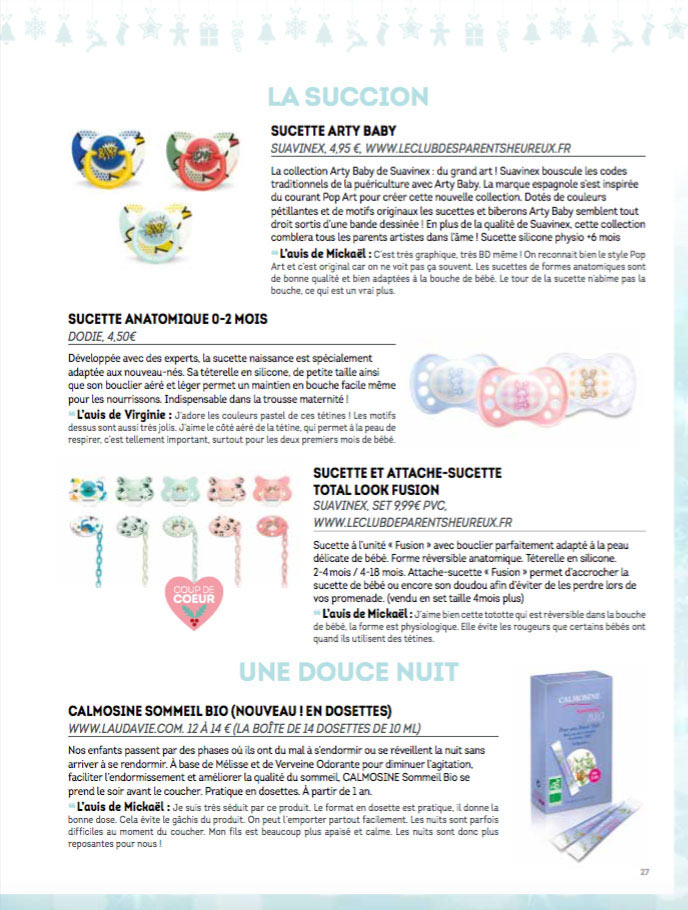 Suavinex dans le magazine Paroles de Mamans Best-Of Décembre 2016